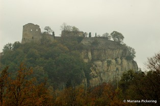 Castle at Canossa with the rock face where I finally saw the Wallcreeper!
