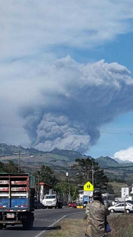 Turrialba Volcano eruption, as seen from Cartago